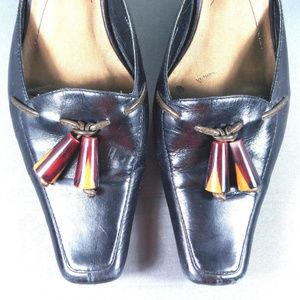 Liz Claibone Black Leather Slip On Kitten Heels